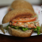 {Built From Scratch} Honey Bun Salmon Burgers with a side of fries