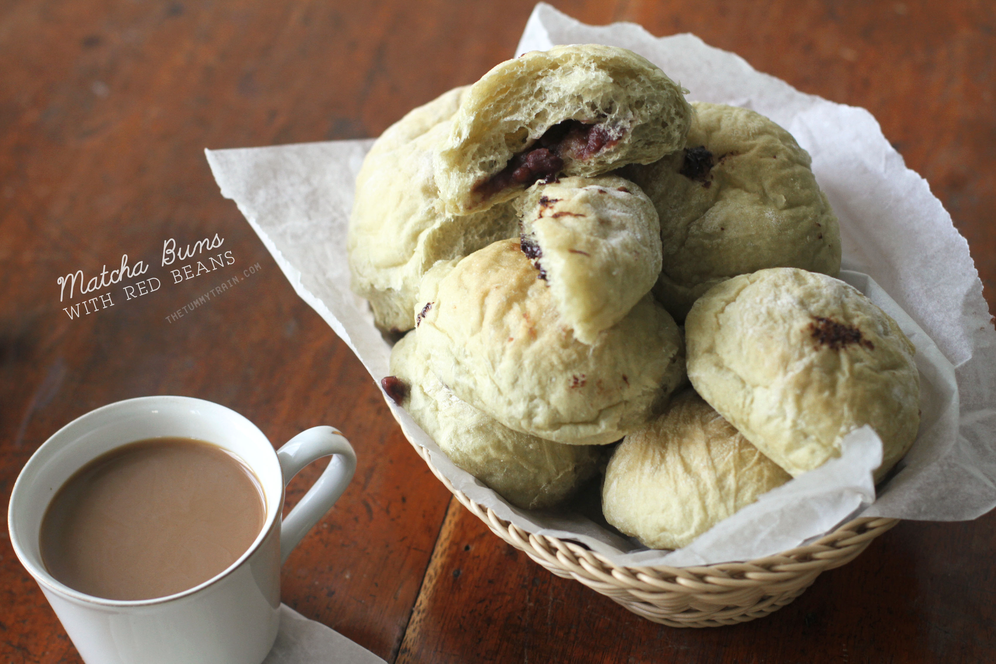 Matcha Red Bean Buns 1 - Learning to love the green tea-red bean combination