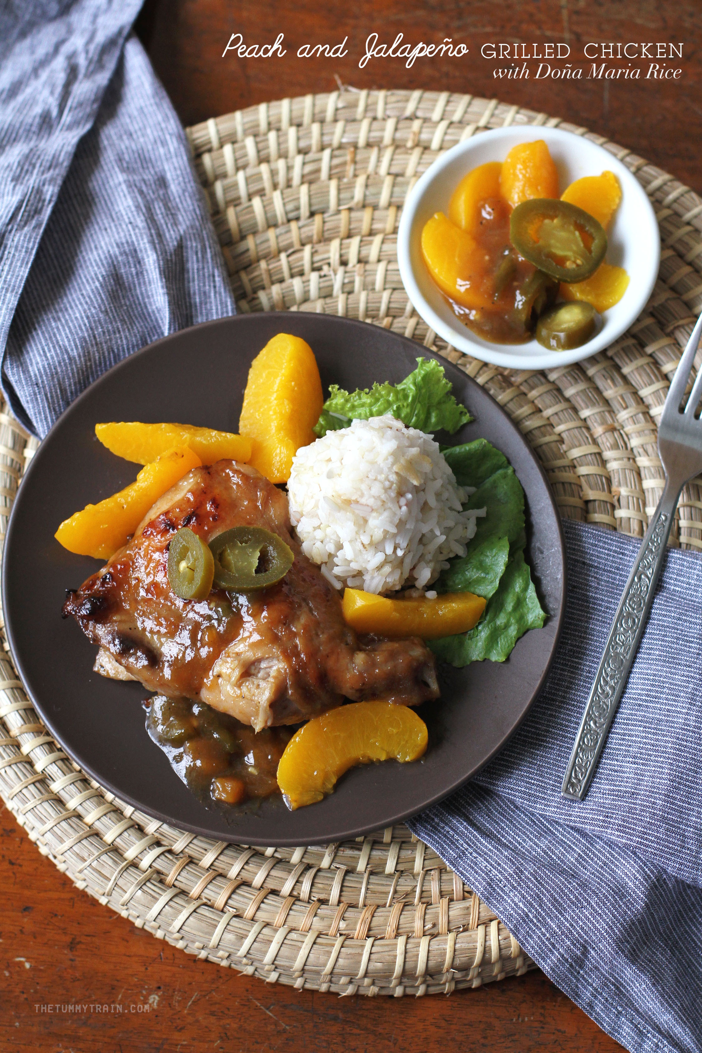 PJ Grilled Chicken 1 - Peach-Jalapeño Grilled Chicken with a side of Doña Maria Rice