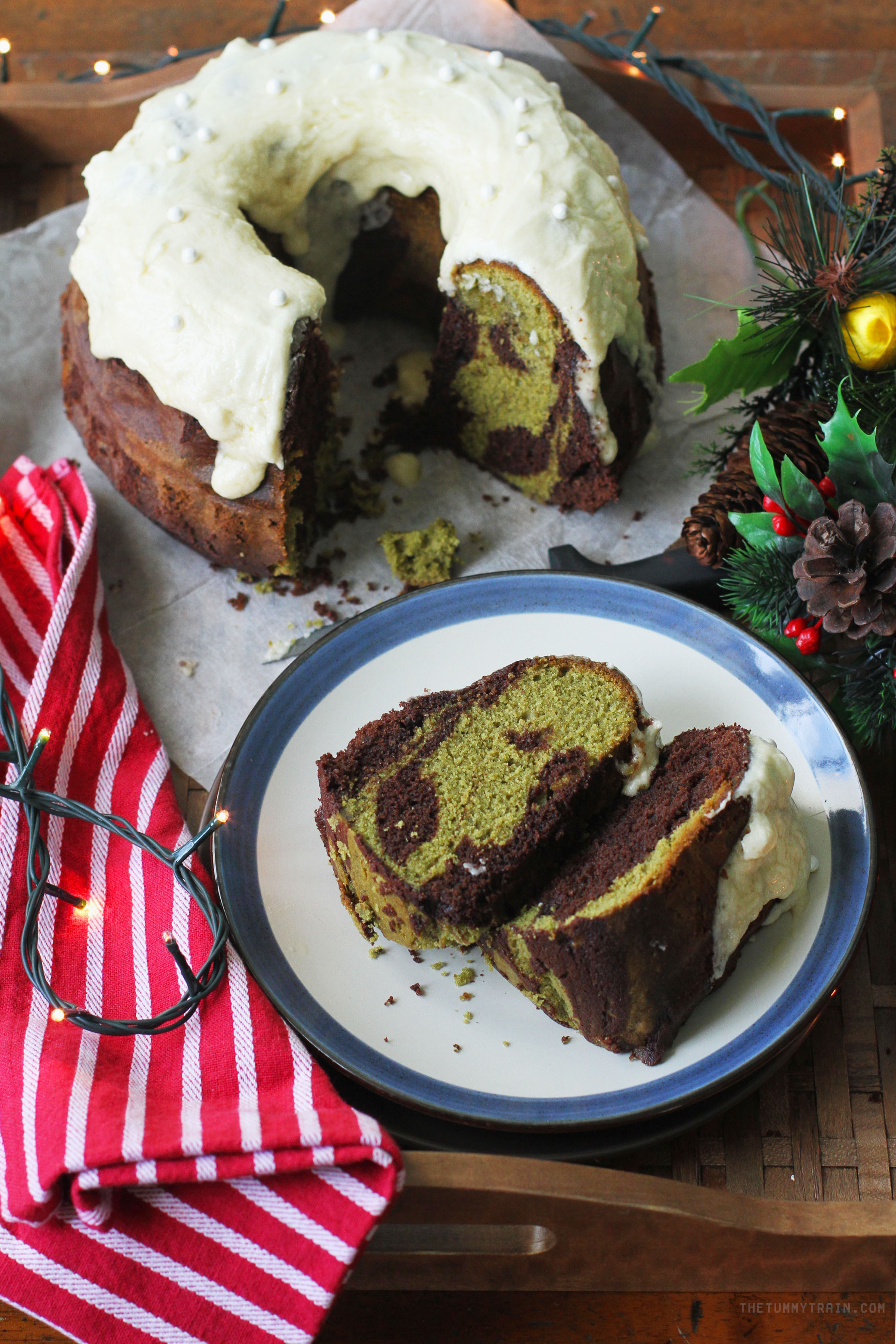 Matcha Choco Bundt 1 - Get in the mood for Christmas with this Chocolate Matcha Bundt Cake Recipe