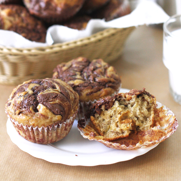Nutella PB Banana Muffins - Muffins with a crown of Nutella for World Nutella Day this year [VIDEO]