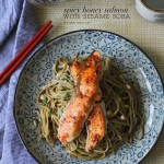 My favourite Sesame Soba topped with sweet-spicy salmon