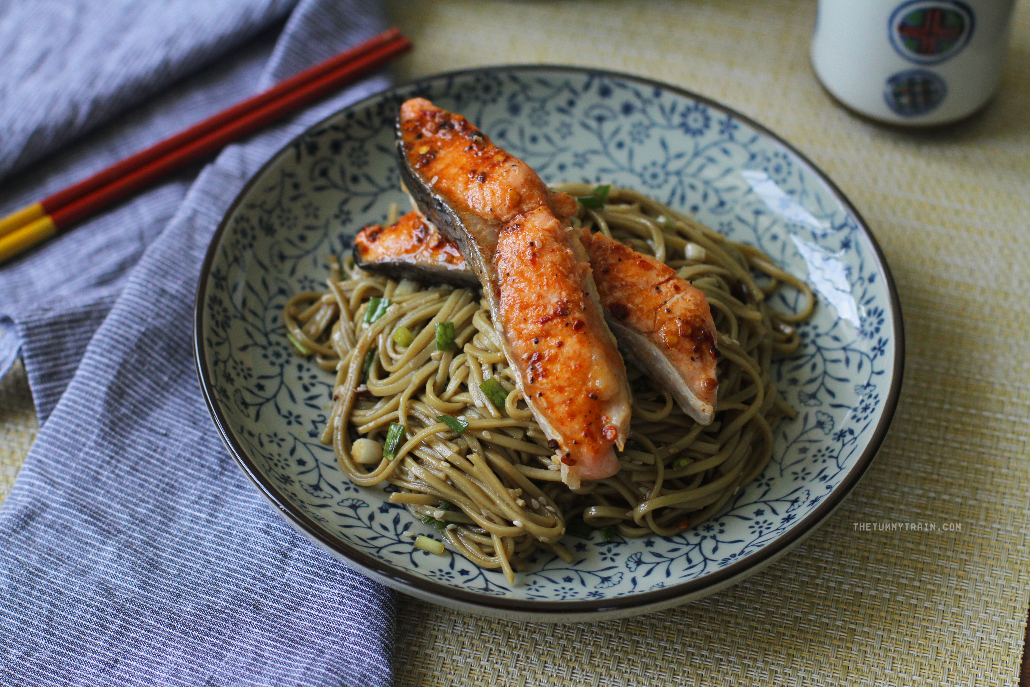 Soba and Salmon 2 - My favourite Sesame Soba topped with sweet-spicy salmon
