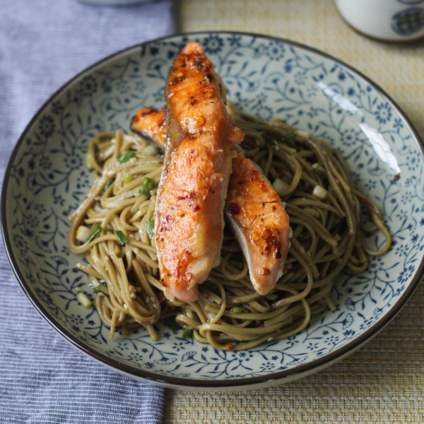 Soba and Salmon - My favourite Sesame Soba topped with sweet-spicy salmon