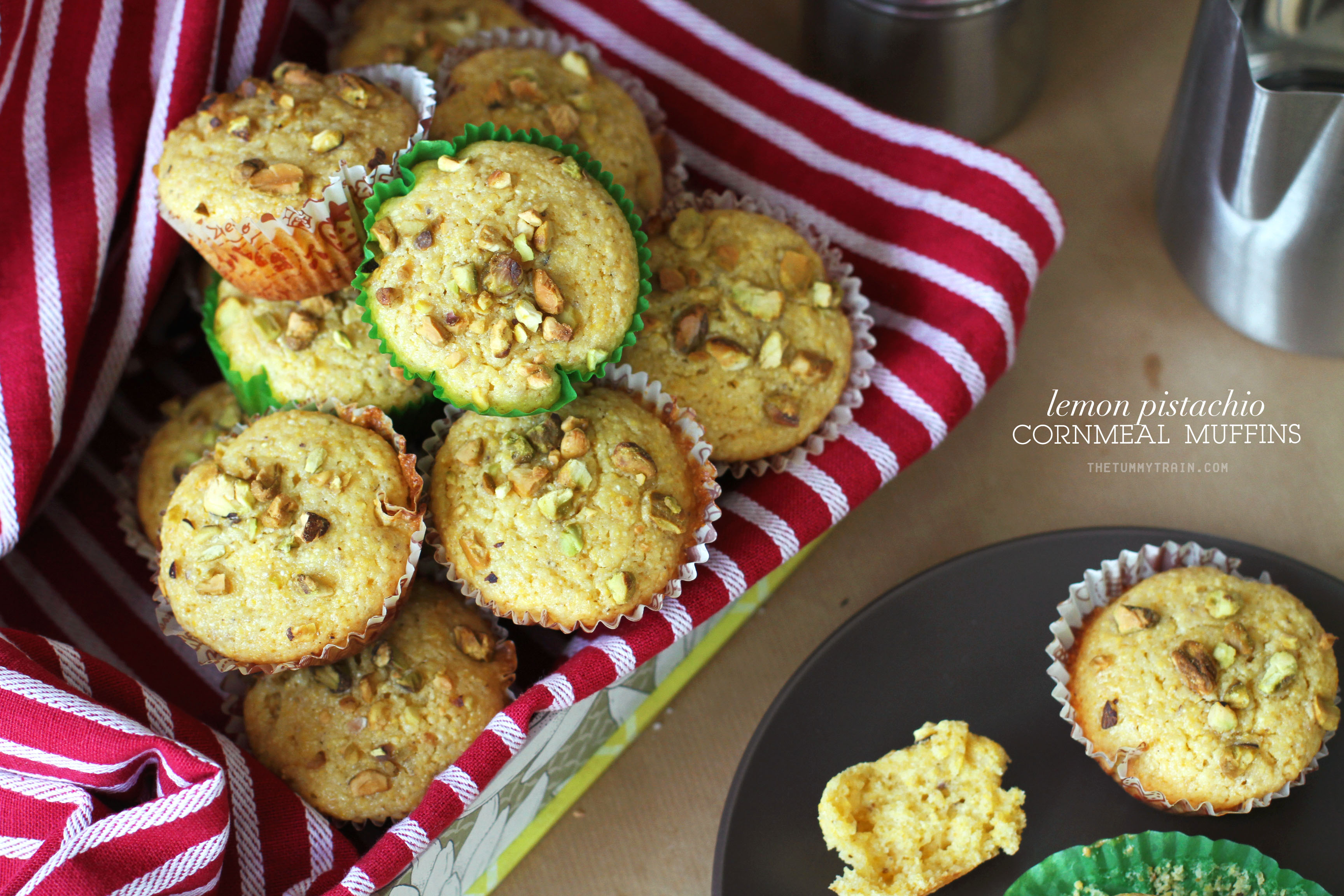 Lemon Pistachio Corn Muffins 1 - I could munch on these Lemon Pistachio Cornmeal Muffins all day