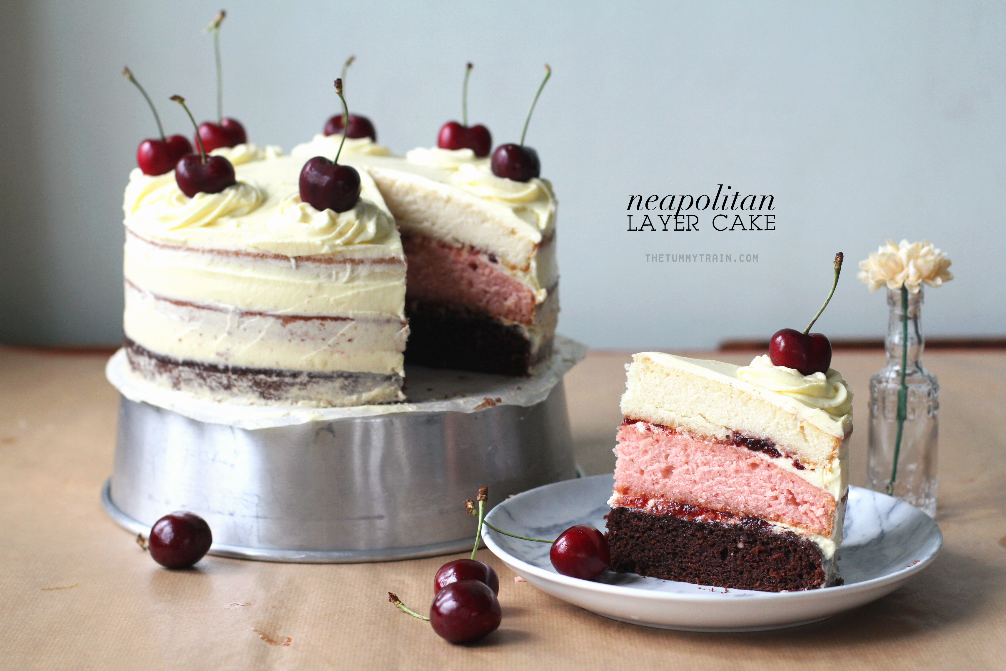 Neapolitan Cake 1 - A Neapolitan Layer Cake made with love using KitchenAid [VIDEO]