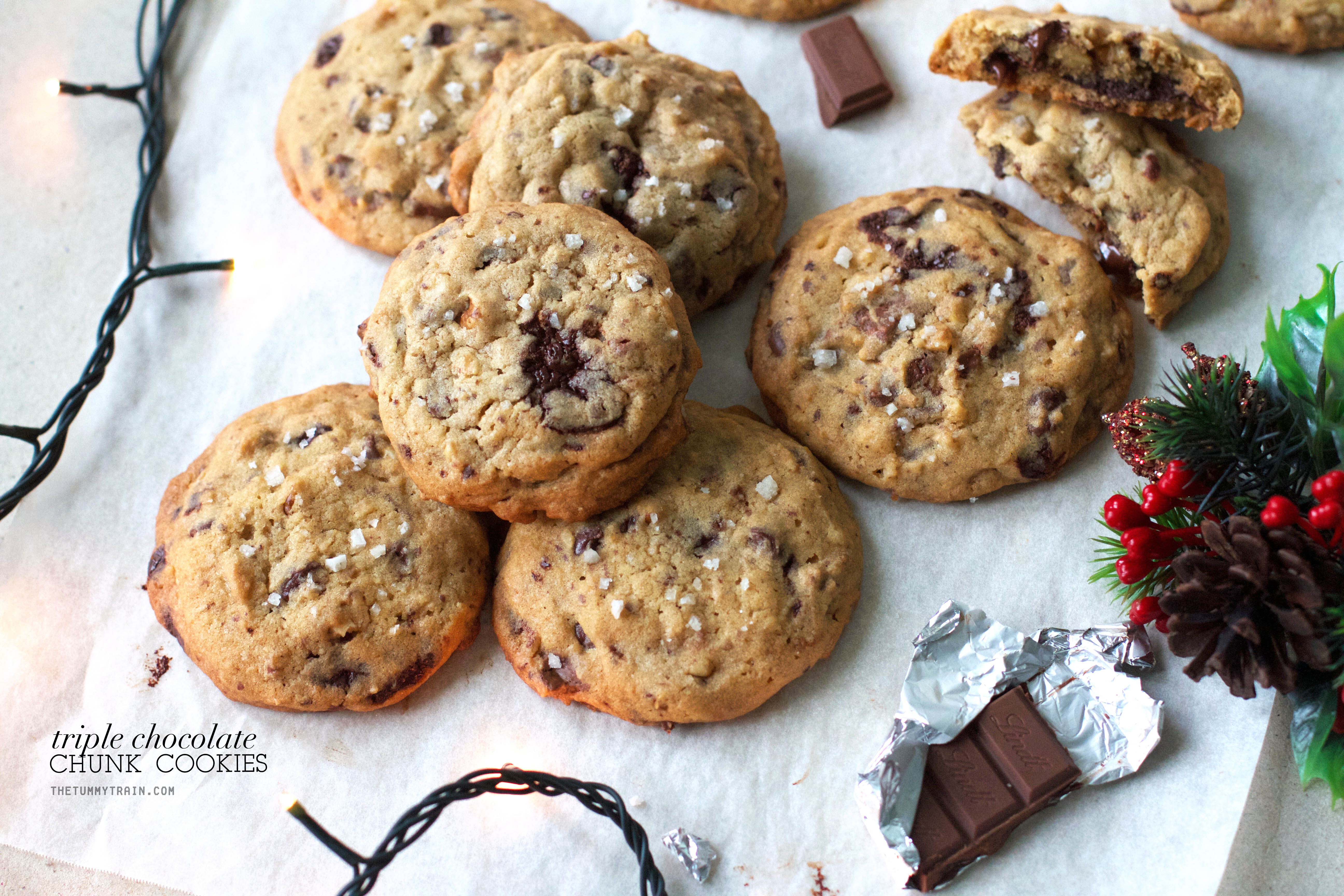 Triple Choco Chunk Cookies 1 - A bit of holiday indulgence with these Triple Chocolate Chunk Cookies