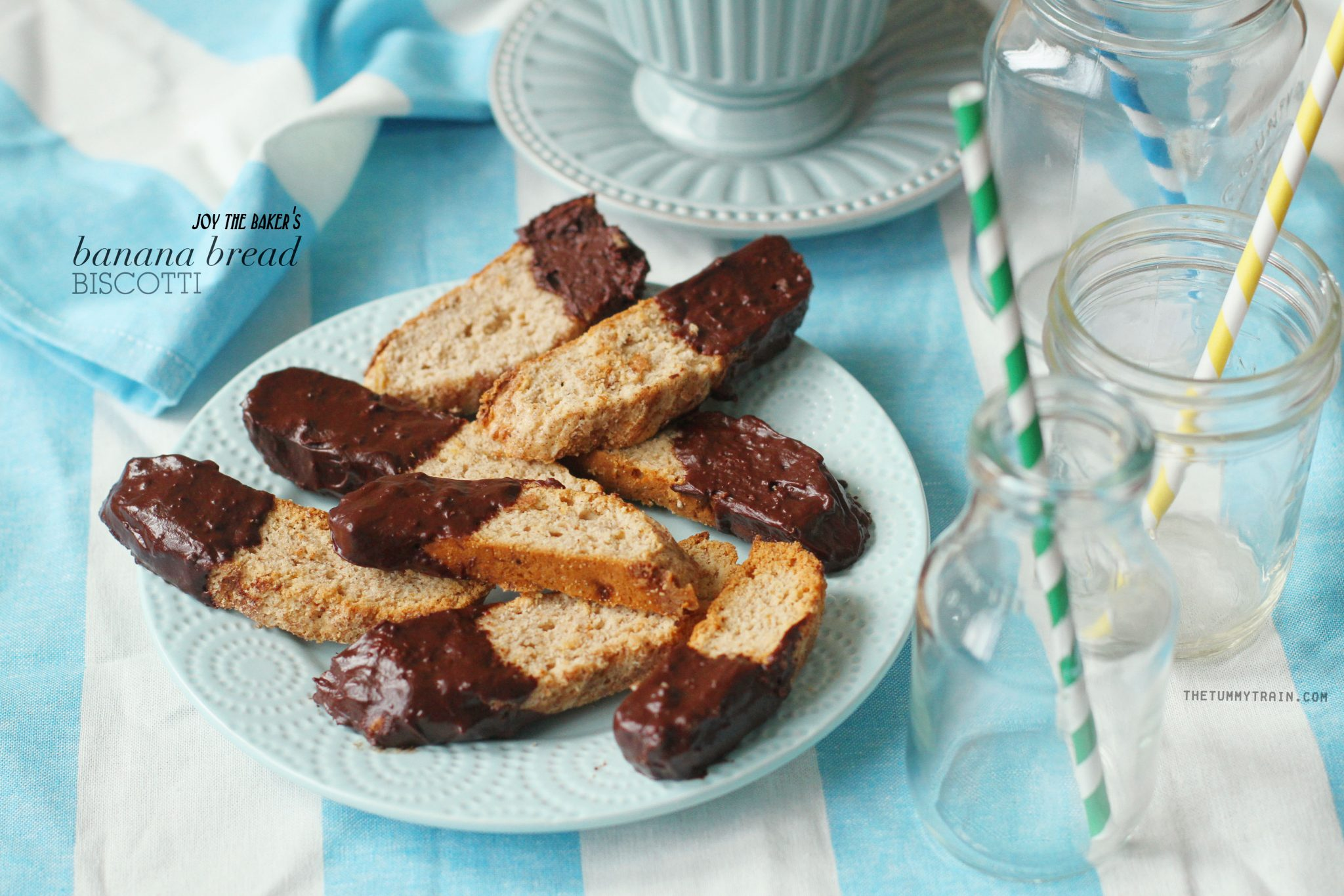 Banana Bread Biscotti 1 - These Banana Bread Biscotti with Chocolate are the most epic biscotti ever!