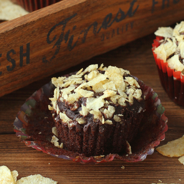 Choco Chips Muffins - These Chocolate-Potato Chips Muffins are a unique play on sweet and salty